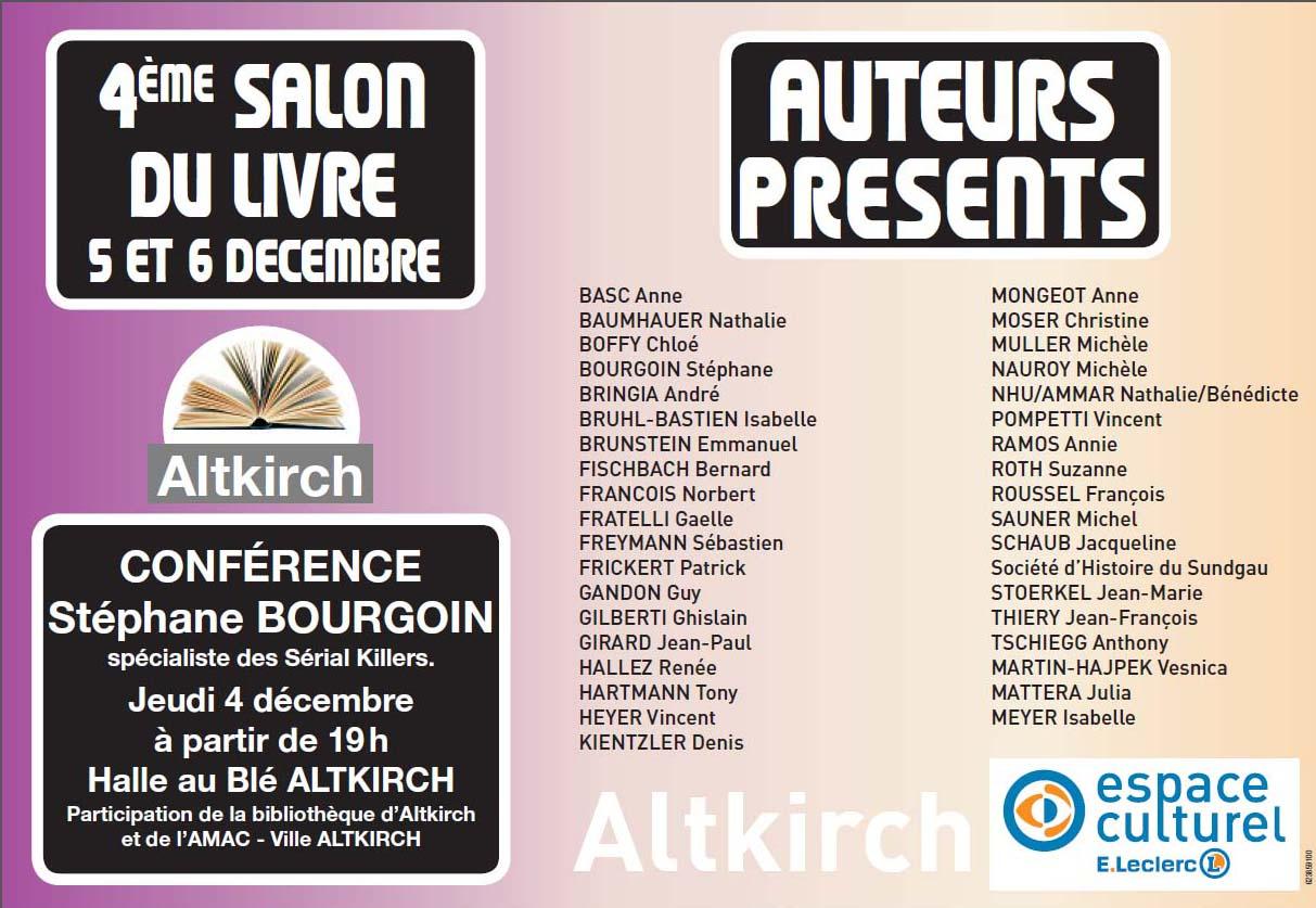 Salon du Livre d'Altkirch 5 et 6 décembre 2014